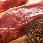 Organic grass fed beef New York strip steak raw