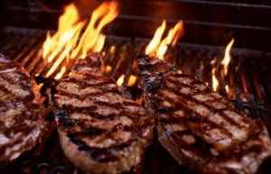 grass fed beef steaks on grill